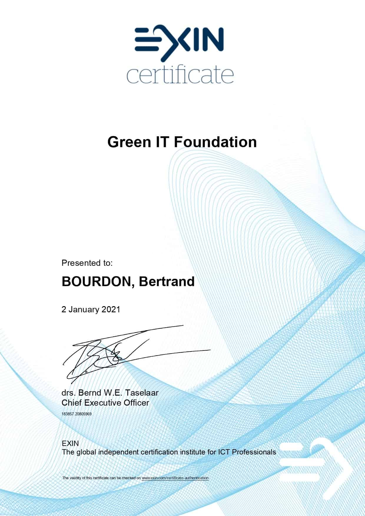 Green It Foundation - EXIN Certificate