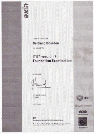 Bertrand Bourdon - Certification ITIL