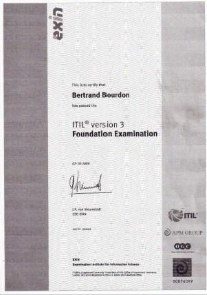 Bertrand Bourdon - Certification ITIL